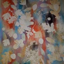 blad print in klei