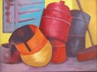gasfles wordt gekleurde klankschaal schilderen acrylverf