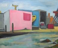 pink industrie wat maken ze hier? haven Rotterdam acryl op doek