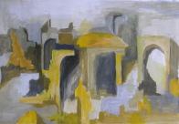 ruines gele stad acryl verf geschilderd op papier